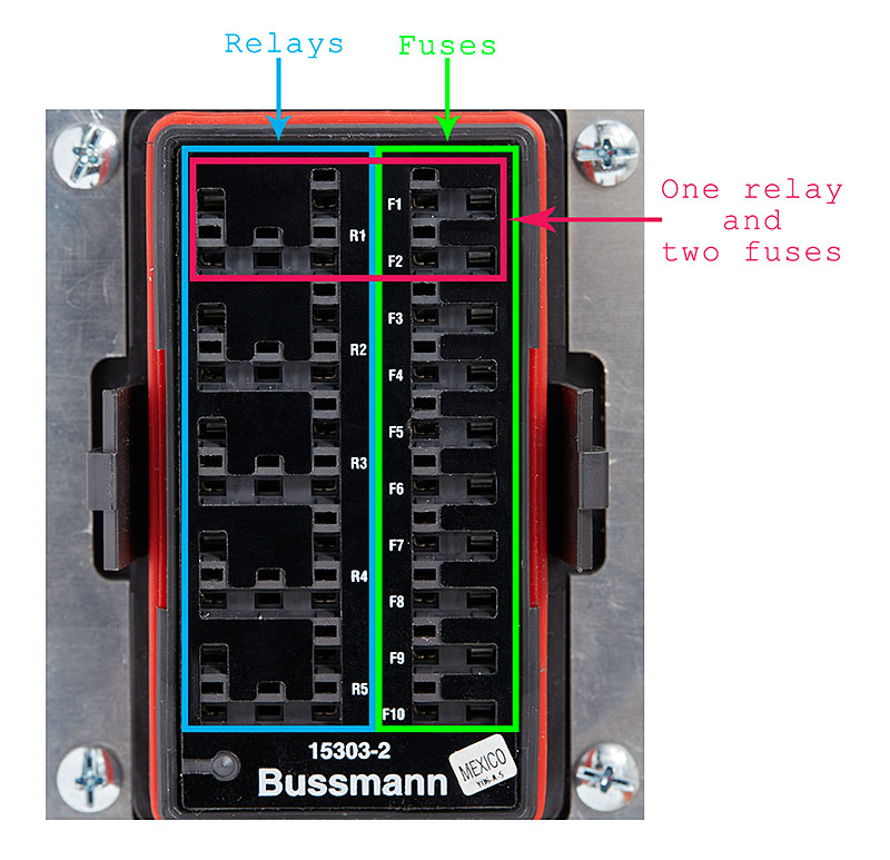 2015 06 04_BussmannRTMRMounted_Z2A2392_TopOutlined_web800 diy bussmann rtmr fuse block, part 4 wiring and schematics automotive fuse box with relay at fashall.co